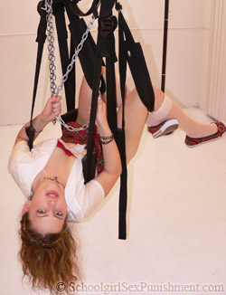 Julie, on sex swing, before getting tied up to it